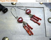 Reserved to Sandra - Persephone's Bleeding Heart . Carnelian hearts & red Coral Stick one of a kind earrings