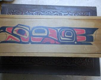 Vintage Tribal Totem Animal Spirit Wood Slide Box