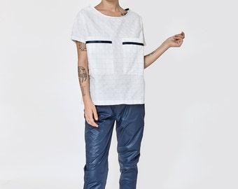 NEW SUMMER 2016!!! Glossy blue boyfriend pants, stretch waist band,  light cotton glossy fabric,  boyfriend cut pants