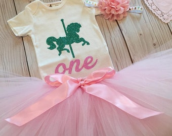 Tutu Dress | Birthday Tutu | Baby Tutu Skirt | Carousel Party Tutu by Strawberrie Rose | 1st Birthday Tutu