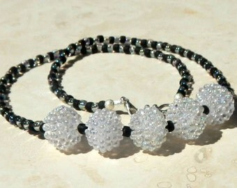 Black and White Acrylic Bubble Necklace With Lobster Claw Closure