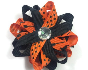 Halloween Hair Bow, Cats Hair Bow, Handmade Hair Bow, Black & Orange Hair Bow, No Slip Hair Bow, 2.5 Hair Bow, Made To Order, Loopy Hair Bow