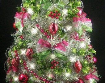 "White Mini Tabletop Christmas Tree - Fuchsia & Lime Green - 22"" - Fully Decorated - 50 Clear Lights - Tree Skirt with Matching Presents"