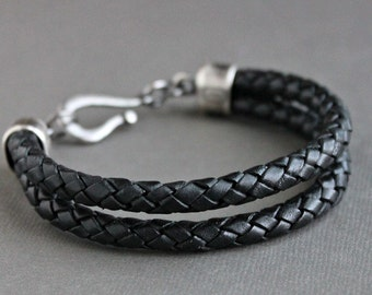 Mens Black Leather Bracelet Double Braid, Sterling Silver Clasp