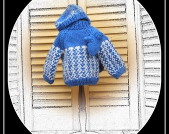 Sweater, Mittens and Hat Combo  for BOY doll (or girl!) 18 inch dolls - American Girl, Magic Attic, Our Generation, etc