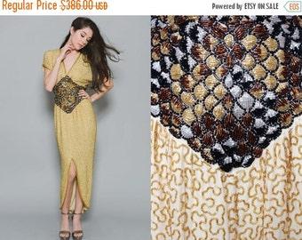 ON SALE 25% OFF Vtg 70s Chic Disco Hippie Boho Maxi Sequin Beaded Studio 54 Groovy Deep V Slit Trophy Dress Xs/S