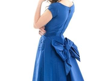 ON SALE 25% OFF Vtg 50s Elegant Posh Dainty Royal Blue Swing Prom New Look Bow Dress Xs/S