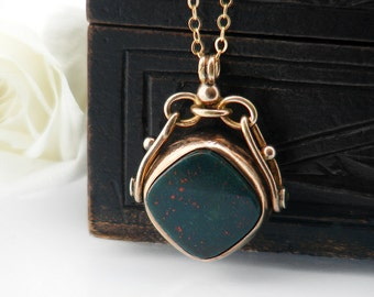 Antique Fob Spinner | Victorian Bloodstone & Carnelian Fob Spinner | Hallmarked 9ct Gold and Agate Spinner Necklace - 24 Inch Chain