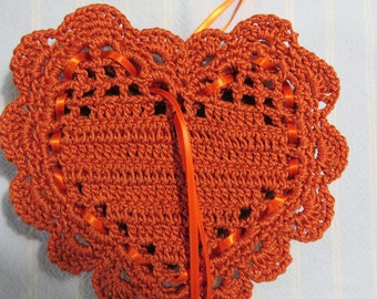 "Harvest Orange 5""X5.5"" Sachet-'Your Choice of Fragrance'-Autumn/Thanksgiving Heart Sachet-Hand Crocheted-Cotton and Satin-Cindy's Loft-694"