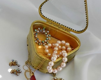 Beveled Glass Jewelry Box. Gold Tone Metal Casket Trinket Box. Ormolu Style with Velvet Lining.