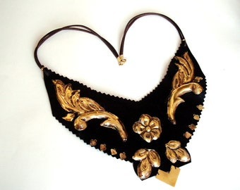 Leather Bib Necklace with brass Gold leaves Artisan jewelry brass and leather