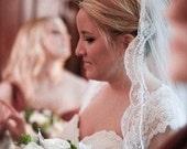 "French Alencon Lace Wedding Veil Cathedral Veil 108"" scallop lace bridal veil with eyelash alencon lace edging scallop lace veil"