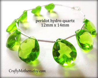 PERIDOT GREEN Quartz Faceted Heart Cut Stone Briolette, (1) Matched Pair, 12mm x 14mm, spring green