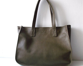 Olive green leather tote,Every day bag, Woman bag