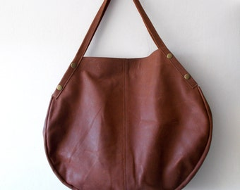 Oversize leather bag - Every day bag - Women bag  - Brown leather bag