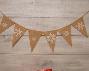 Snowflake pennant banner, small burlap banner, christmas flags, burlap snowflakes, winter decor, chirstmas decoration,