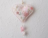 Heart Ornament White Felt Hanging with Beaded Edge Swirls French Bouillion Flower and Little Hearts Droppings Handsewn