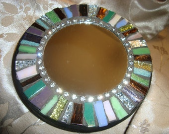MOSAIC MIRROR, Accent Mirror, Small Round Mirror, Wall Art, Wall Hanging, Multi Colored