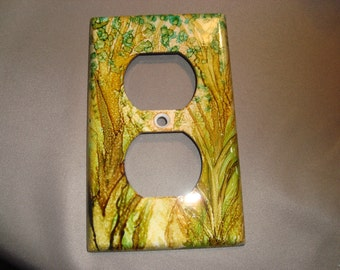 LIGHT SWITCH PLATE Cover - Whimsical Tree Hand Painted Electrical Outlet Cover