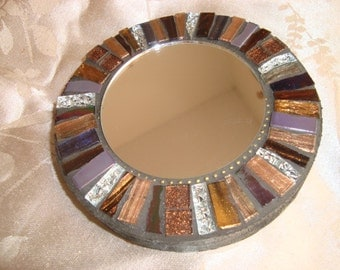 MOSAIC MIRROR, Accent Mirror, Small Round Mirror, Wall Art, Wall Hanging, Brown, Gold, Silver, Iridescent Black/Purple