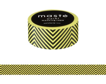 Yellow Chevron Japanese Washi Tape • Masté Masking Tape (MST-MKT142-YE)