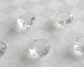 10 marvellous crystal glass buttons with frosted surfaces and faceted edges  -  (18 mm -11/16 in.)