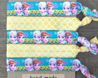 5 Pack Anna Elsa Frozen Fever Summer Disney Inspired Knot Hair Ties Fold Over Elastic Stretch Bracelet by Whimsical Elements