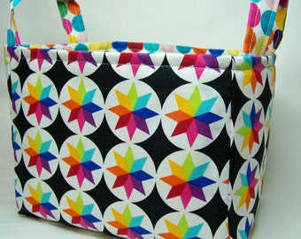 PK Fabric Basket in Starburst Colors on Black - Storage Basket - Diaper Caddy - Ready To Ship - Reversible