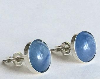 Kyanite 8mm Cabochon Sterling Silver Bezel Set Stud Earrings