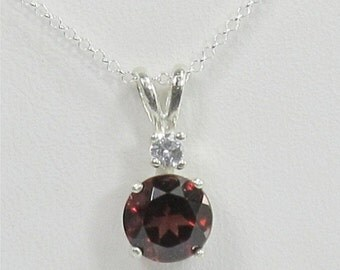 Garnet 7mm 1.60ct Sterling Silver Gemstone Necklace