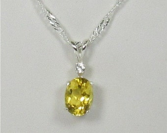 Heliodor 8x6mm Sterling Silver Gemstone Necklace Pendant
