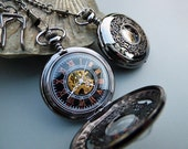 Classic Black Mechanical Pocket Watch with Watch Chain - Black & Gold Watch - Groomsmen Gift - Engravable - Watch - Item MPW90