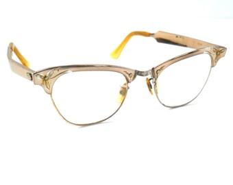 Vintage Mid Century Cat Eye Glasses • Eyeglasses 12K Gold Fill Aluminum
