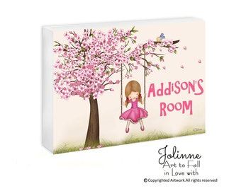 cherry blossom Personalized door sign custom door sign girls door plaque drawing illustration kids door plaque girls wall art kids room art