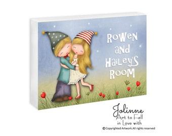 Brother sister door sign, Parents room sign, kids bedroom door plaque, kids personalized sign, boy girl door sign, nursery art, name sign