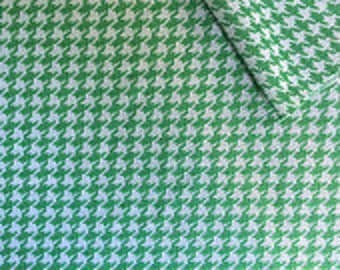 Kelly Christmas Green and White Houndstooth Fabric BTY