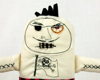 Pirate Bert/Plushies/ OOAK art toy/black and red stripes