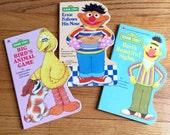 Vintage 1990s Childrens Book / Set of 3 Sesame Street Golden Sturdy Shape Books 90s Hc / Early Reader Board Books
