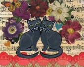 Valentine's Day Greeting Card,  Mixed Media Collage, One of a Kind  Kitty Cat Collage Card, Russian Blue Cats