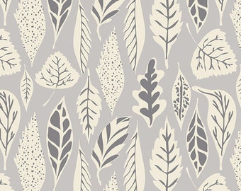 Hello Bear Art Gallery Fabric Leaf Foliage Deco Leaves Dawn Leaflet Cream Taupe and Charcoal Gray