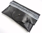 Black Hand Painted Border Clutch - Black Leather Evening Bag - Unusual Unique Purse Bag - Christmas Party - Gift for Her