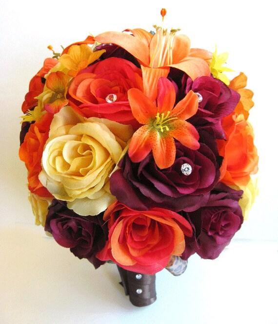 Burgundy Wedding Flower Bouquet: Wedding Bouquets Silk Flowers Bouquet Bridal BURGUNDY YELLOW