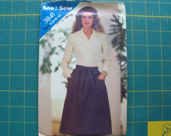 See & Sew 3841 Misses Wrap Skirt Sizes 8 10 12 Uncut Sewing Pattern