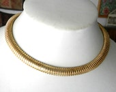 Glam Retro Flexible Gas-pipe Collar Necklace -  silver gold plated 1970s italian couture choker necklace with original label -  art.881-