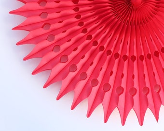 "21"" Red Tissue Paper Fan, Valentine's Day Party Decor, Red Honeycomb Decoration"