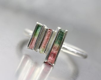 Tiny Raw Bi-Color Tourmaline Rod Silver Ring Three Crystals Green Pink Boho Rustic Rough Gemstone Design - Watermelon Mosaic