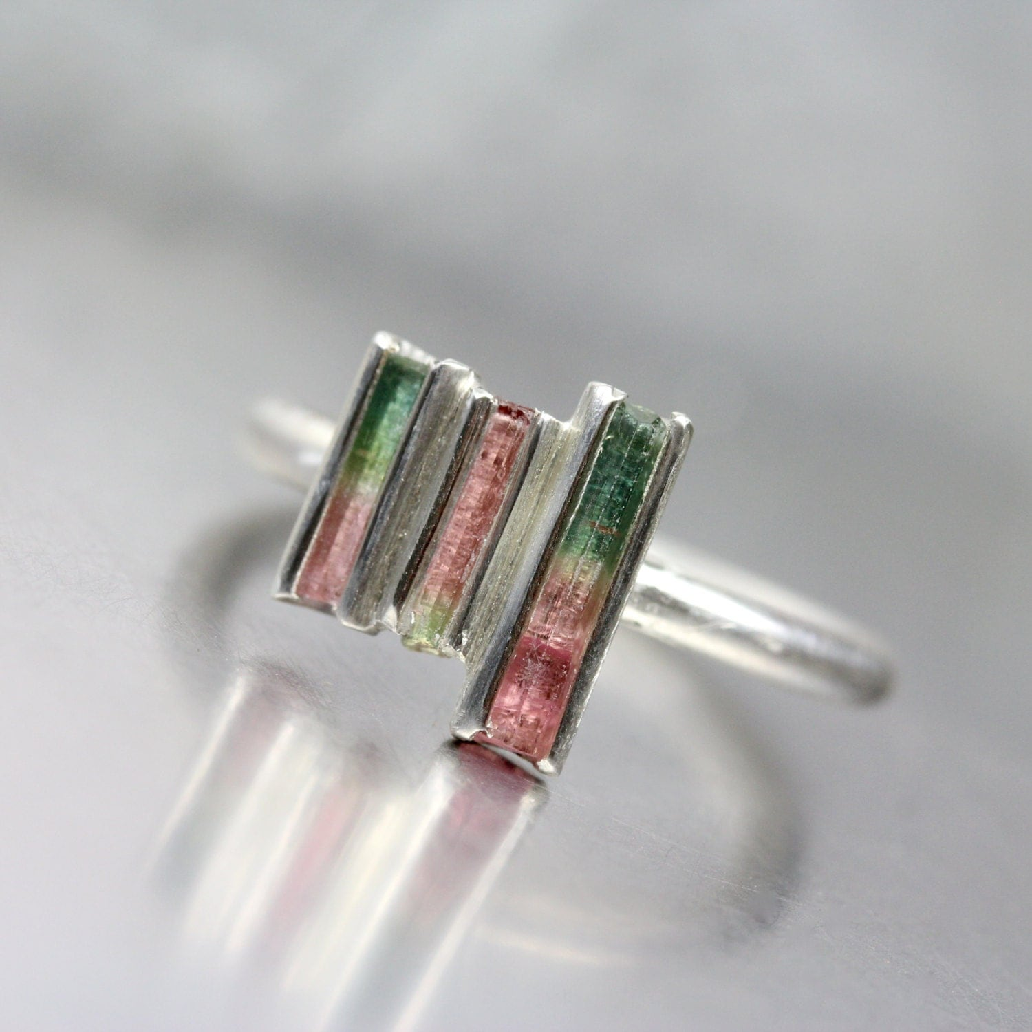 Tiny Raw Bi Color Tourmaline Rod Silver Ring Three Crystals