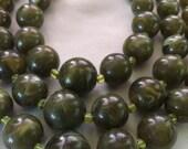 Vintage Bakelite three strand necklace Cream Spinach green