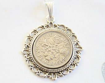 51st birthday gift for women. 1966 birthday gift. Sixpence necklace. 1966 jewelry gift. 51st birthday ideas.