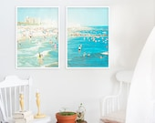 "Oversized Art // Beach Photography // Diptych Prints // Large Scale Art Set for Beach Style Home Decor // Coney Island ""Peeps Dips"""